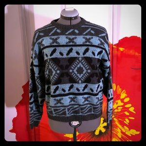 Vintage light blue gray and black sweater